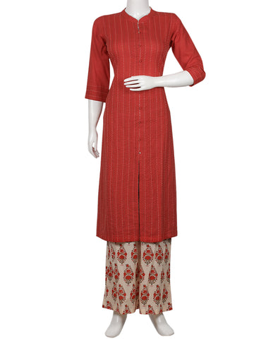 Red & Cream Cotton Kurti with Palazzo