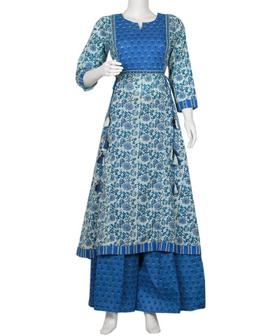 Blue & Cream Cotton Kurti with Palazzo
