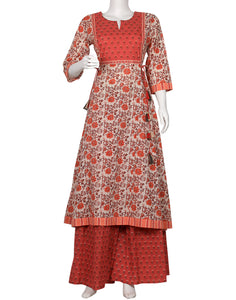 Coral & Cream Cotton Kurti with Palazzo