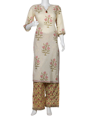 Cream & Beige Cotton Kurti with Palazzo