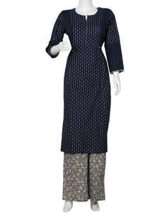 Navy Blue & Grey Cotton Kurti with Palazzo