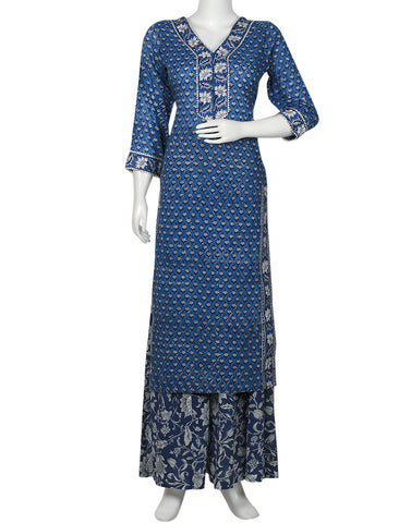Blue Cotton Kurti with Palazzo