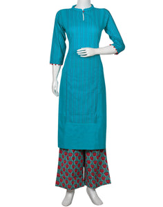 Sea Green & Rani Cotton Kurti with Palazzo
