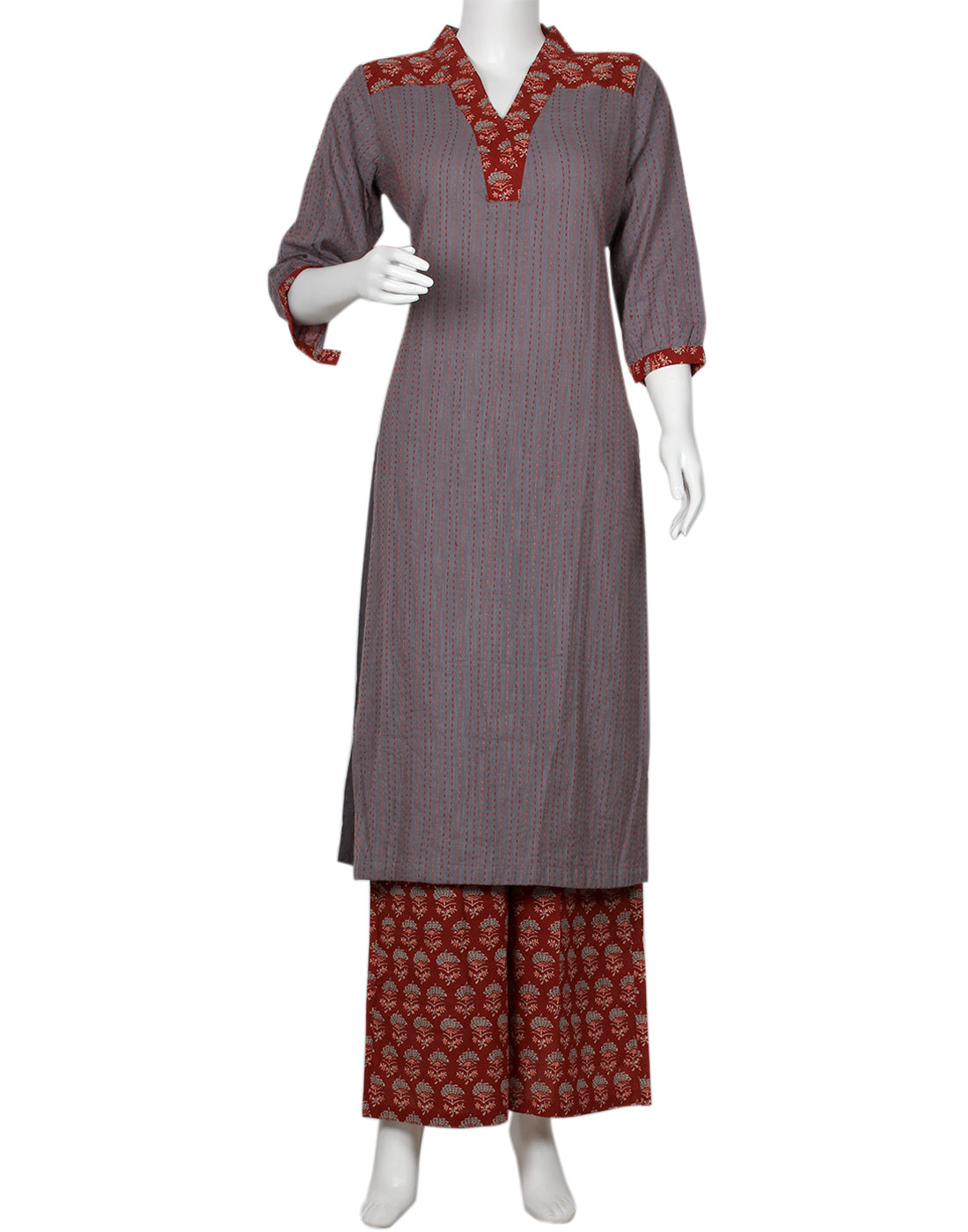 Grey Maroon Cotton Kurti with Palazzo