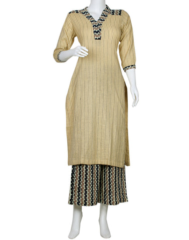 Beige Grey Cotton Kurti with Palazzo