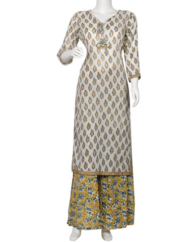 Cream & Mehndi Cotton Kurti with Palazzo