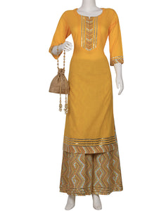 Yellow Cotton Kurti With Palazzo