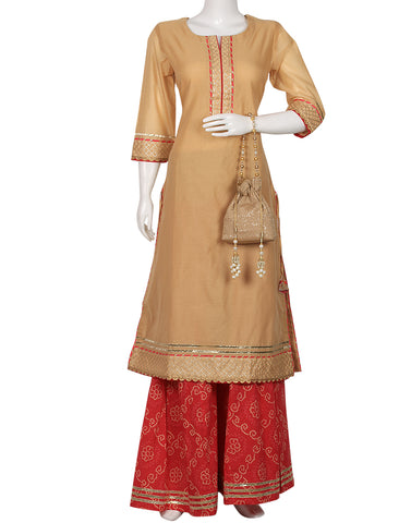 Beige & Rani Cotton Chanderi Kurti With Palazzo