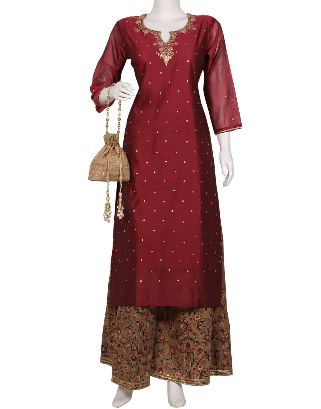 Magenta & Mehndi Cotton Chanderi Kurti With Palazzo