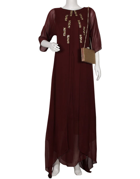 Wine Georgette Dress