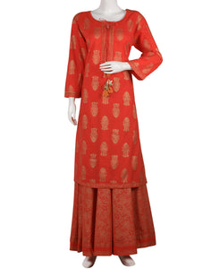 Coral Cotton kurti with Skirt