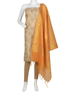 Beige Yellow Cotton Chanderi Suit Set