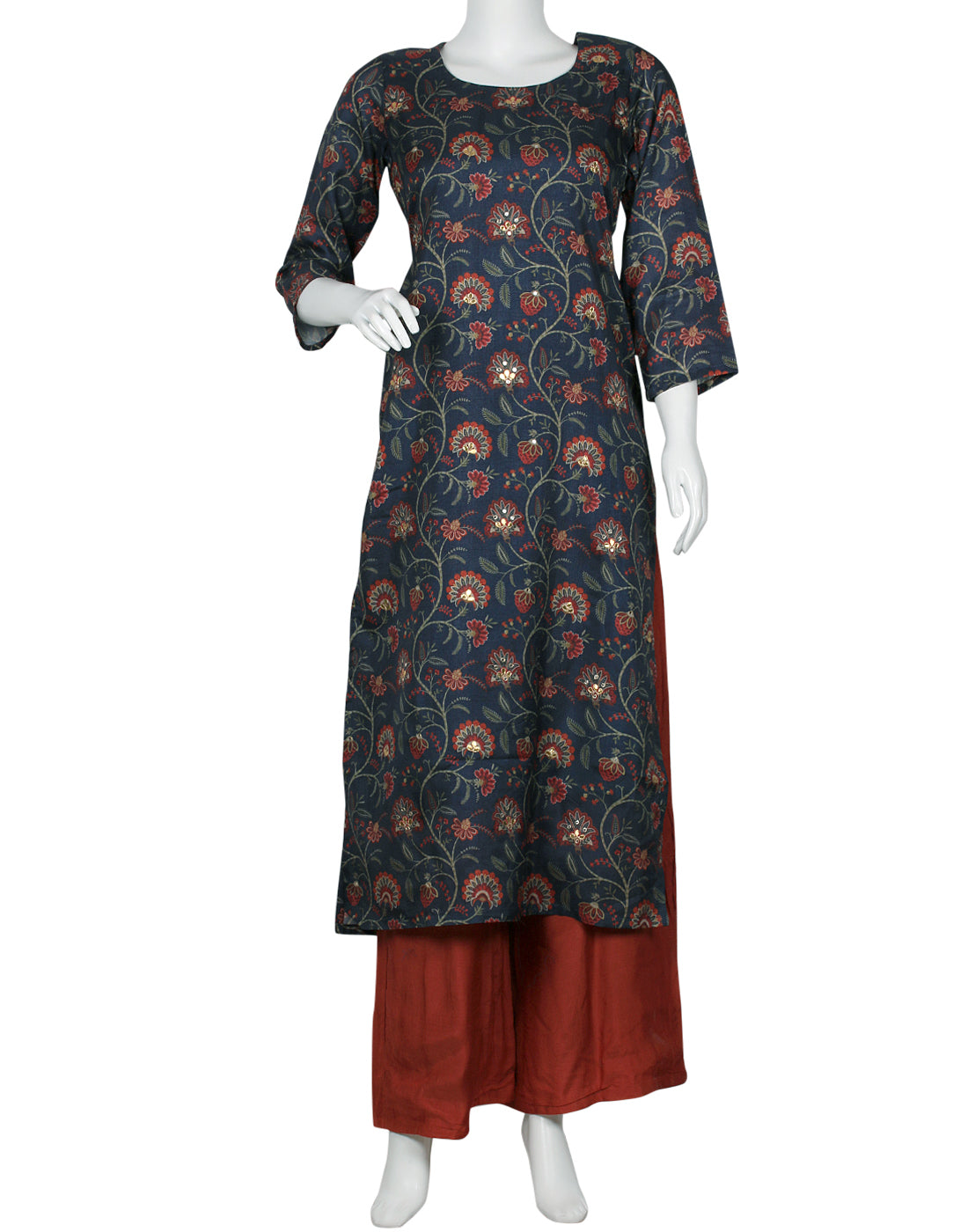 Blue Rust Art Tusser Kurti with Palazzo