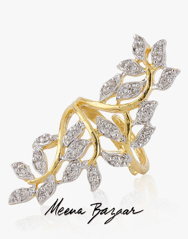 Gold Diamond Leaf Ring