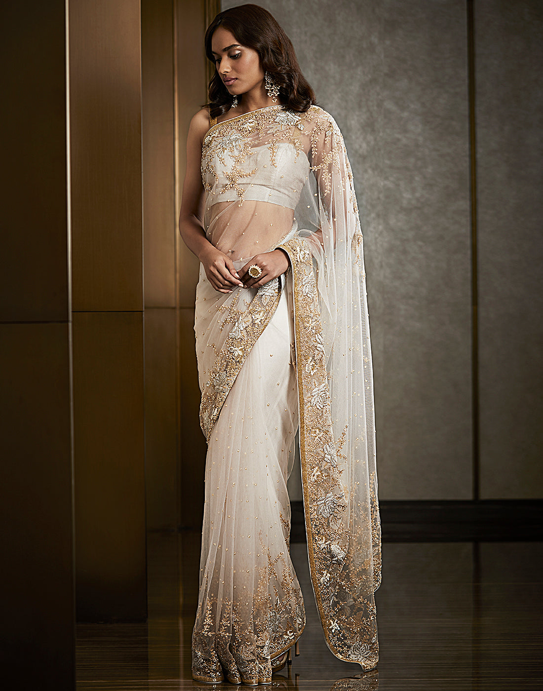 Grey colour Handcrafted Pure Net Saree
