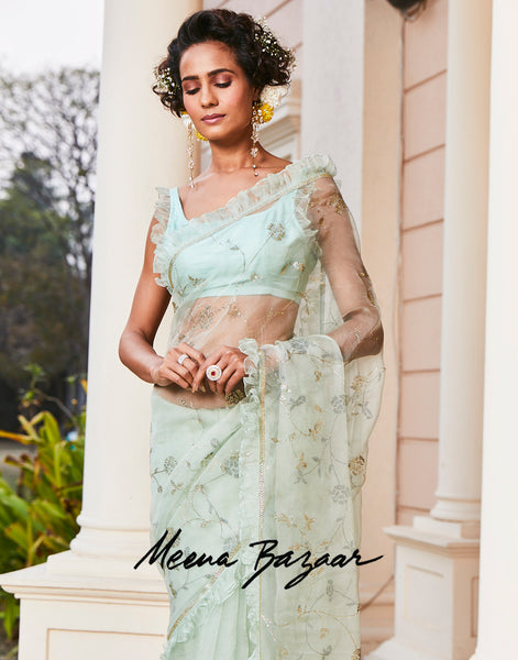 Aqua Green Embroidered Saree