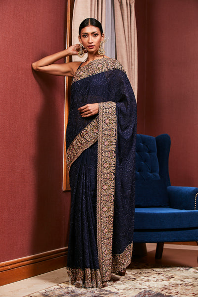 Navy Blue Embroidered Georgette Saree
