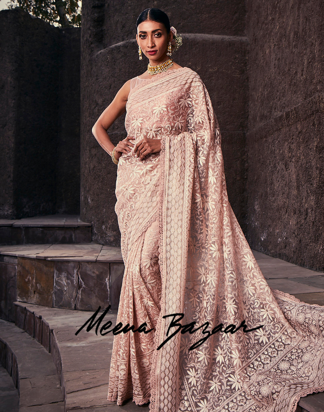Peach Pink Kora Chikankari Embroidered Saree