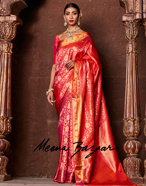 Orange Handloom Kanjivaram Saree