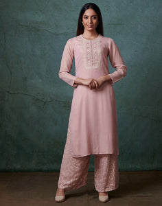 Pink Georgette Kurti with Palazzo
