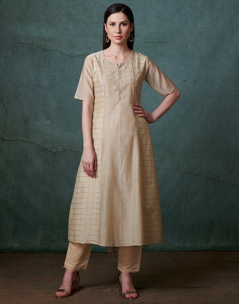 Beige Cotton Chanderi Kurti