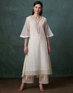 Cream Cotton Chanderi Kurti