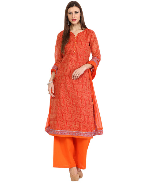 Unstitched Printed Cotton Suit By Meena
