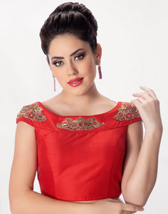 Red Dupion Silk Blouse