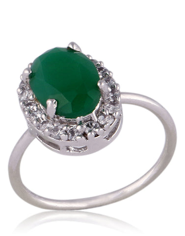 Emerald Ring in Oxidised Silver By Meena Bazaar