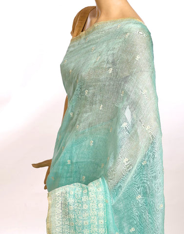 Firozee Cotton Linnen Saree