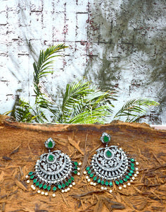 Meena Bazaar: American Diamond & Emerald Chandelier Earrings