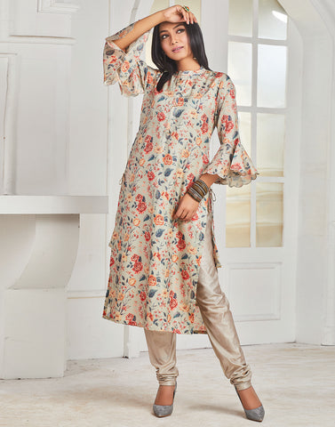Grey Green Art Tusser Kurti