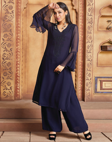 Navy Blue Georgette Kurti with Palazzo