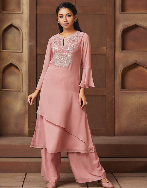 Dusty Pink Georgette Kurti with Palazzo