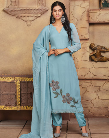 Light Blue Georgette Salwar Kameez
