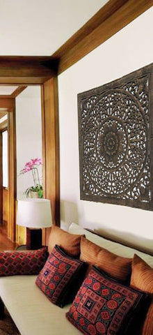 "Elegant Wood Carved Wall Plaque. Wood Carved Floral Wall Art. Bali Home Decor. Asian Wood Carving Wall Art. Decorative Thai Wall Relief Panel Sculpture. 36""x36""x0.5"" Available in Black Wash and Dark Brown"