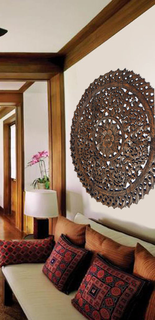Sale Elegant Medallion Wood Carved Wall Plaque. Large Round Wood Carving  Panel. Asian Carving Lotus