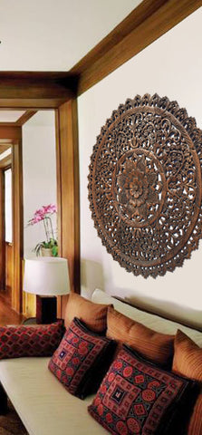 "Elegant Medallion Wood Carved Wall Plaque. Round Wood Carved Floral Rustic Home Decor Wall Art. Asian Home Decor Wall Panels Size 36"" Color Options Available"