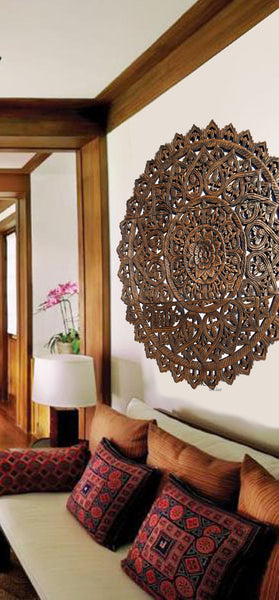 Elegant Wood Carved Wall Plaque Floral Wood Wall Panels