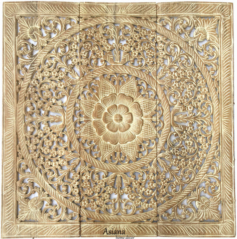 Elegant Wood Carved Wall Plaque.Floral Wood Wall Panels – Asiana ...
