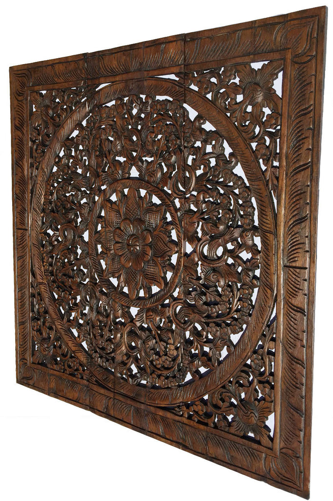 "Elegant Wood Carved Wall Plaque. Wood Carved Lotus Wall Art. Square Wood Carved Wall Panel. Asian Home Decor. 36"" Dark Brown"