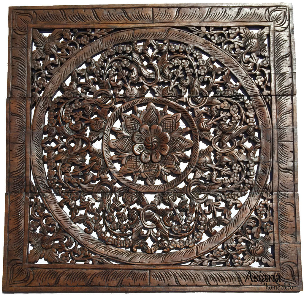 Elegant Wood Carved Wall Plaque. Wood Carved Lotus Wall Art. Square Wood  Carved Wall