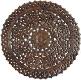 "Elegant Medallion Wood Carved Wall Plaque. Large Round Wood Carving Panel. Asian Carving Lotus Flower Wall Decor 36"" Dark Brown"