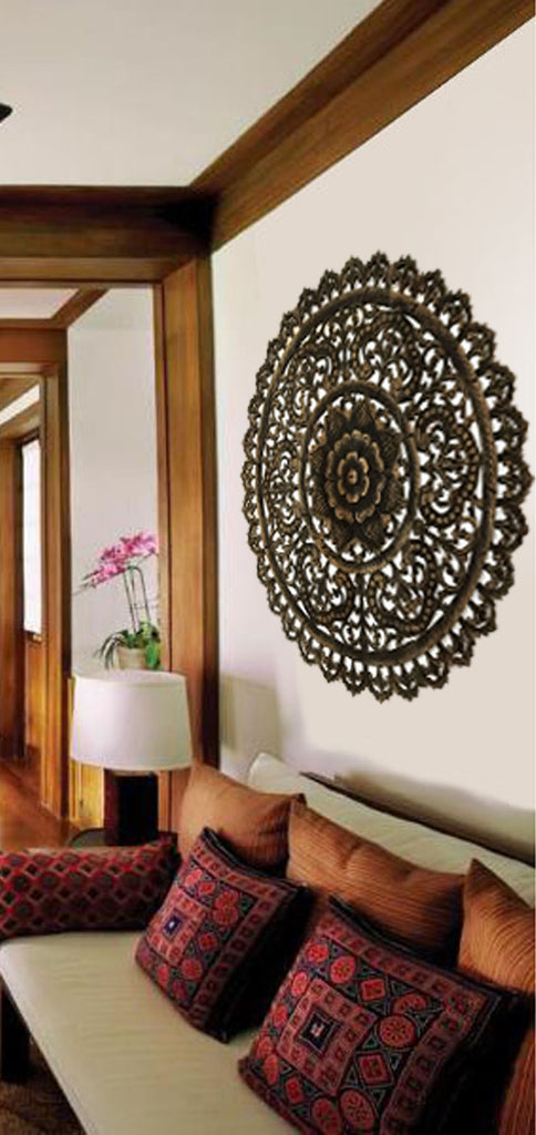 Elegant Medallion Wood Carved Wall Plaque. Large Round Wood Carving Sacred  Fig Leaf Wall Decor