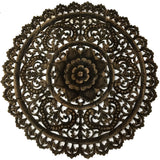 Elegant Medallion Wood Carved Wall Plaque. Large Round Wood Carving Sacred Fig Leaf Wall Decor Panel. Rustic Home Decor 36""