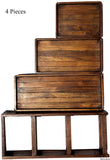 Teak Wood 3-Tier Tray Display Home Accents