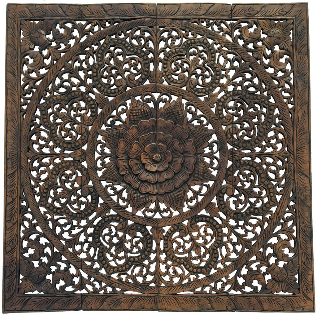Elegant Wood Carved Wall Plaque. Wood Carved Floral Wall Art. Asian Home  Decor Wall