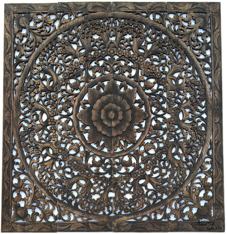 ... Elegant Wood Carved Wall Plaque. Wood Carved Floral Wall Art. Asian Home  Decor Wall ...