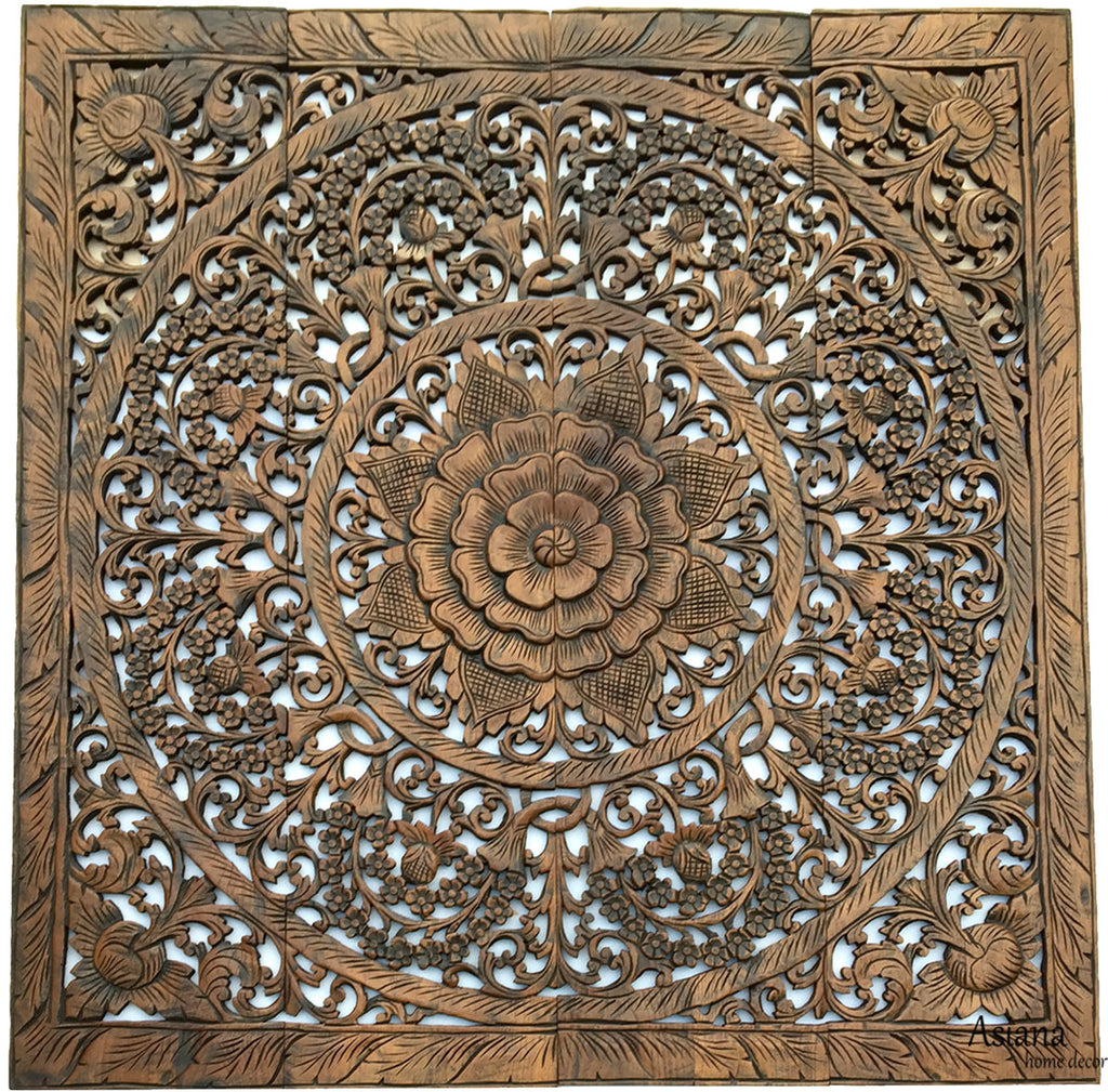 Elegant Wood Carved Wall Plaque Wood Carved Floral Wall Art Asian Home Decor Wall Art Panels Bali Home Decor 48 Color Options Available