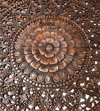 "Elegant Wood Carved Wall Plaque. Tropical Asian Home Decor. 48"" Square Dark Brown"